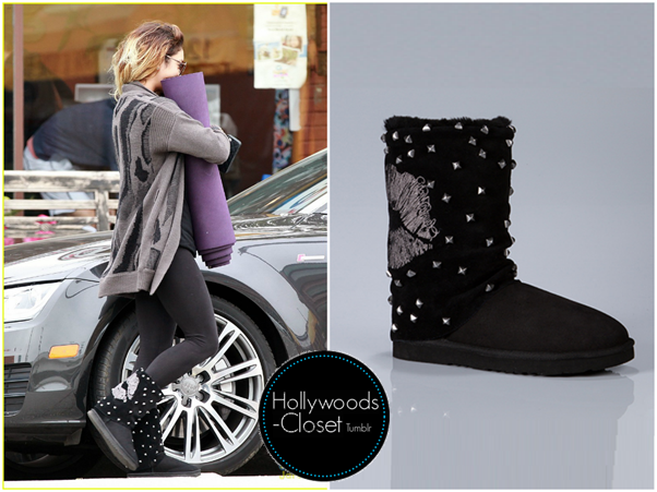 Vanessa Hudgens | Studio City Vanessa was spotted getting fuel in Studio City recently. Vanessa wore a pair of Moshi Lips Boots. You can purchase these from Koolaburra for $99.00 Buy these here
