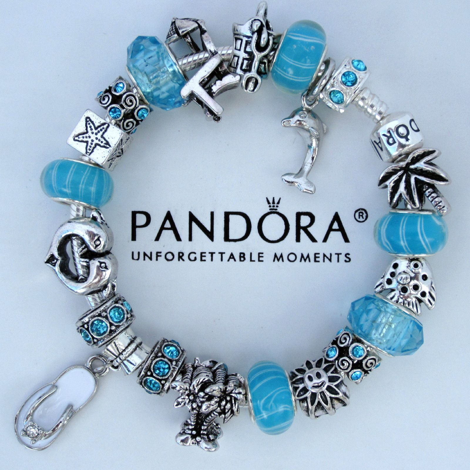 Authentic Pandora Bracelet Beach Vacation Cruise Dolphin Flip Flop