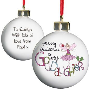 exclusive goddaughter christmas tree bauble baptism