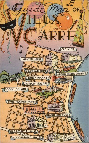 Guide Map Of Vieux Carre Maps Fotos Plakater Og Billeder