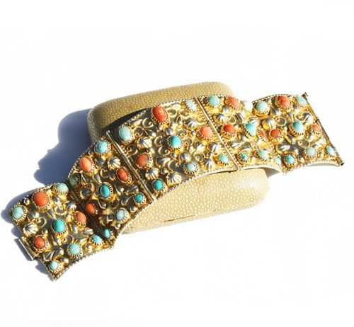 70′s Egyptian Silver Gilt Turquoise & Coral Bangle. www.intovintage.co.uk