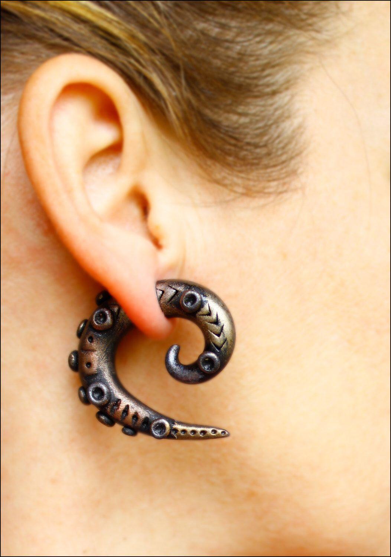 Steampunk Earrings Fake Gauge Gothic Ear Plug Earring