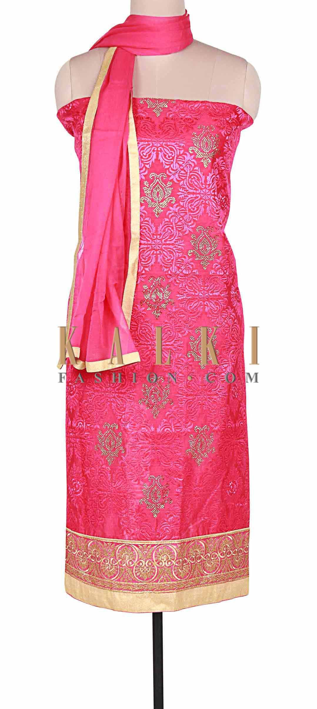 Pink unstitched suit adorn in resham and zari embroidery only on