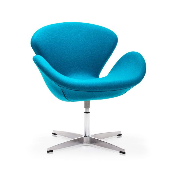 Modern curved swivel chair turquoise inspired by mid for Mid century modern design principles