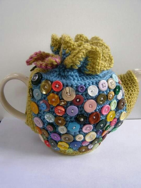 Crochet tea cozy with buttons -- can do quilted one embellished with buttons