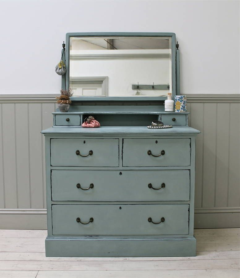 Vintage Distressed Mirror Dressing Chest.A Beautifully Proportioned Set Of  Vintage Drawers With Dressing Table