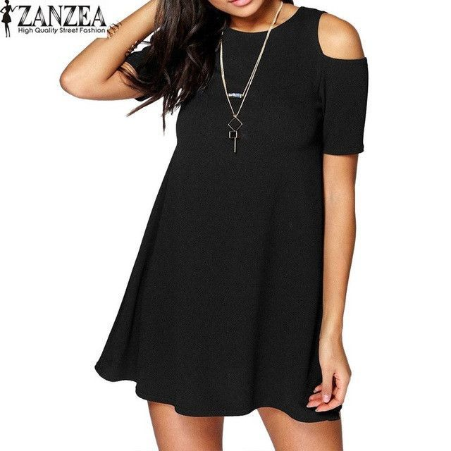 ZANZEA Womens Summer Round Neck Off Shoulder Short Sleeves Casual Slim Vestido