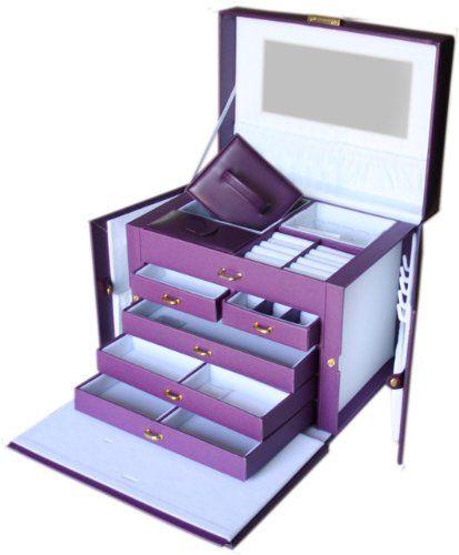 Amazoncom SHINING IMAGE LARGE PURPLE LEATHER JEWELRY BOX CASE