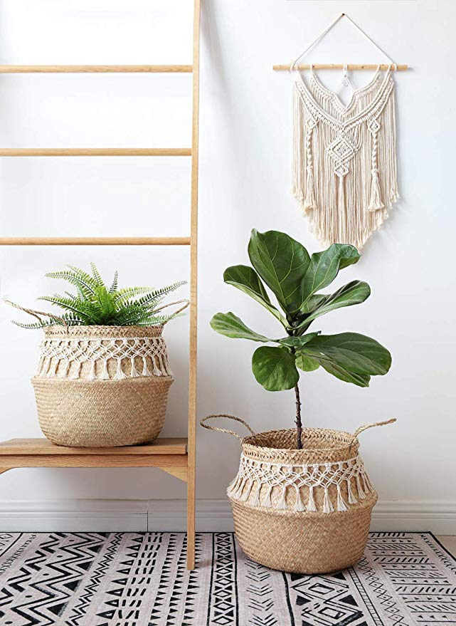 Amazon Com Mkono 2 Pcs Seagrass Plant Basket Indoor Planter Decorative Flower Pot Cover Up To 10 Inch Pot Decorated Flower Pots Plant Basket Plant Pot Covers