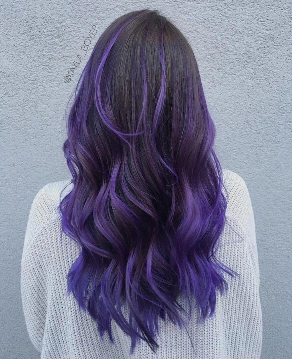 Ombrehaircolor Blueombrehair Hair Styles Purple Hair Highlights Black Hair Dye