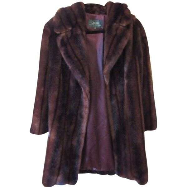Pre-owned Ralph Lauren Fur Coat ($157) ❤ liked on Polyvore featuring outerwear, coats, brown faux mink, brown fur coat, purple fur coat, ralph lauren, fur coat and brown coat