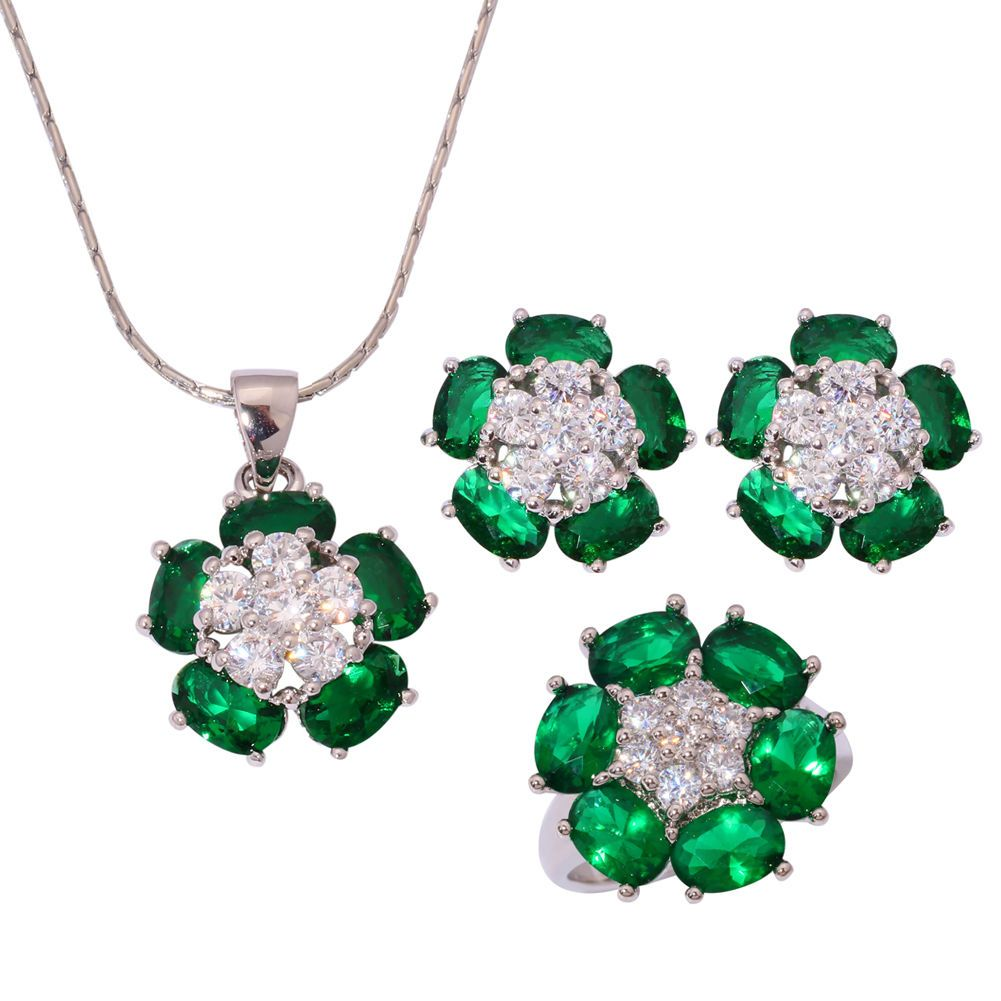Emerald zircon silver for women necklace pendant earrings ring