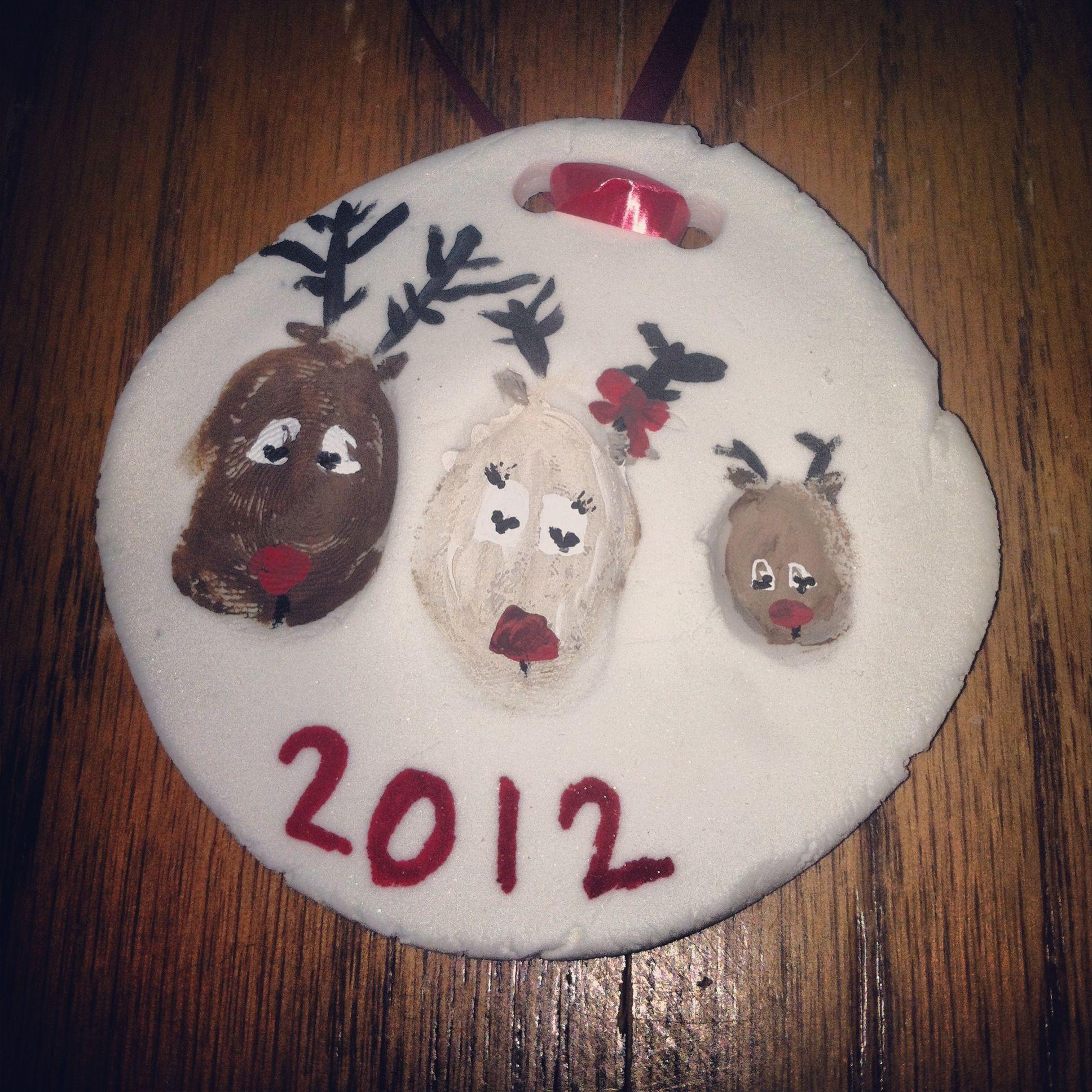 Thumbprint Reindeer Ornament Better Then Salt Dough Thumb Print Paint Seal With Modge Podg Christmas Ornaments Homemade Homemade Christmas Christmas Memory