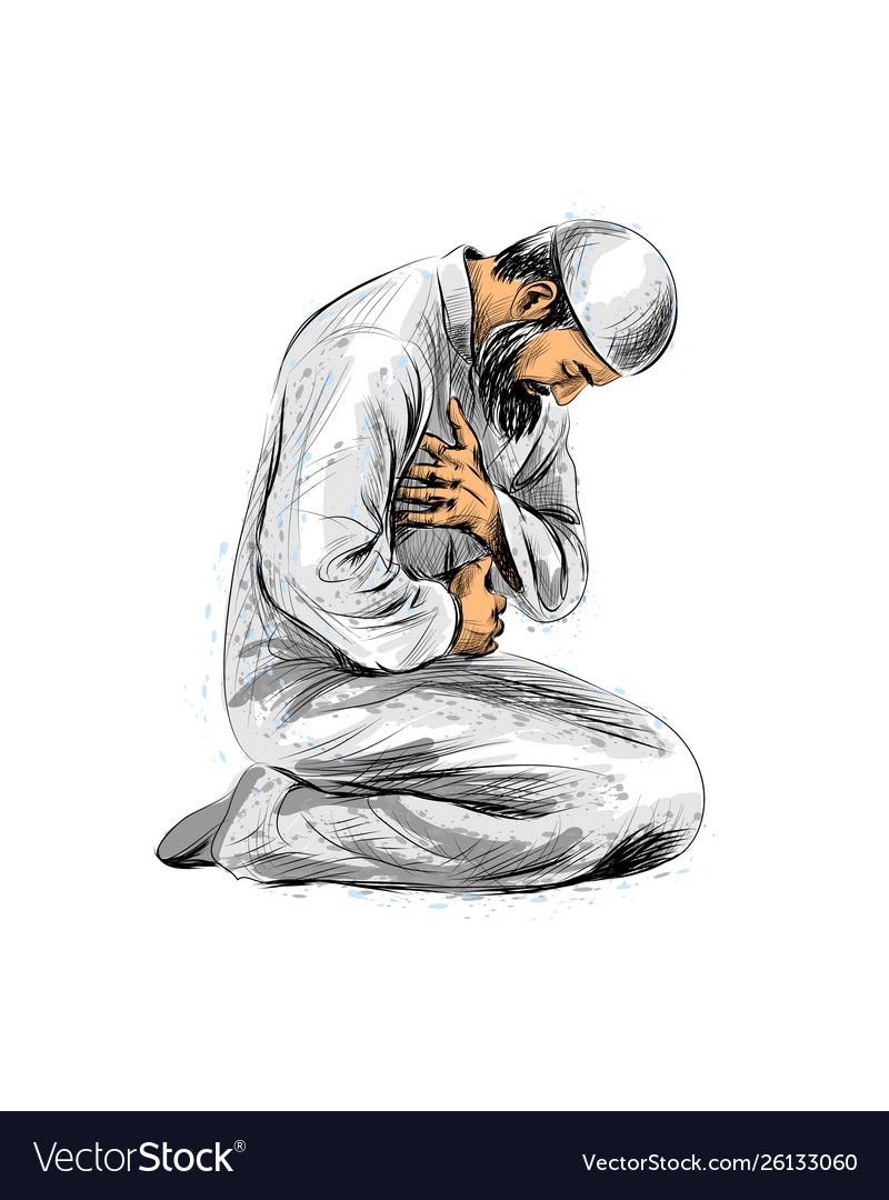 Muslim Man Praying Hand Drawn Sketch Vector Illustration Download A Free Preview Or High Quality Adobe Illustrat Islamic Cartoon Islamic Art Islamic Artwork