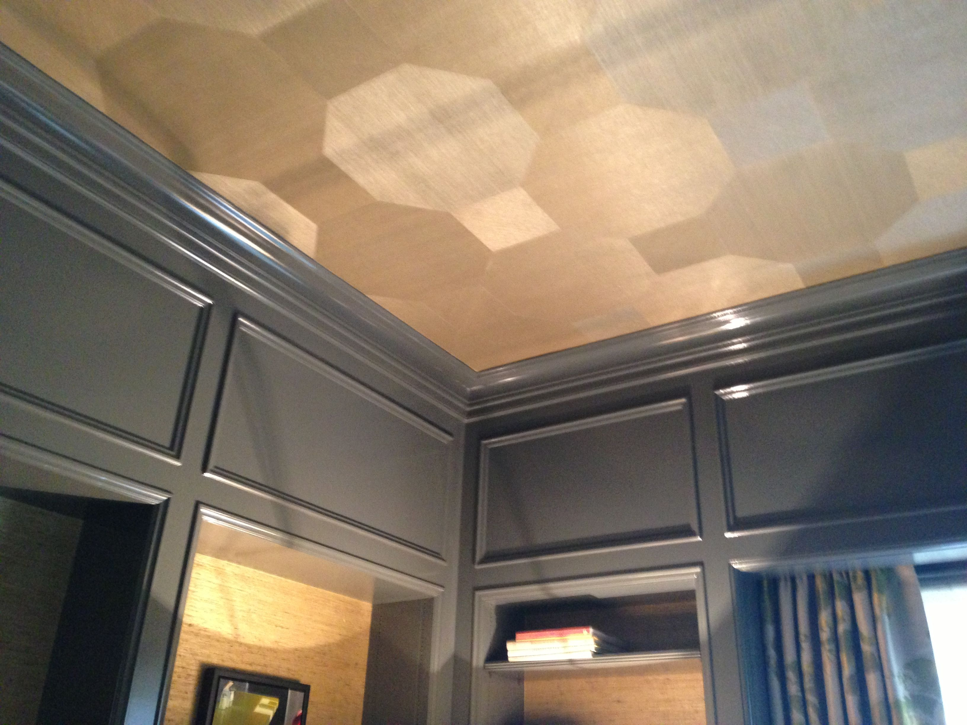 High gloss gray with grasscloth ceiling | Ideas for Missy ...