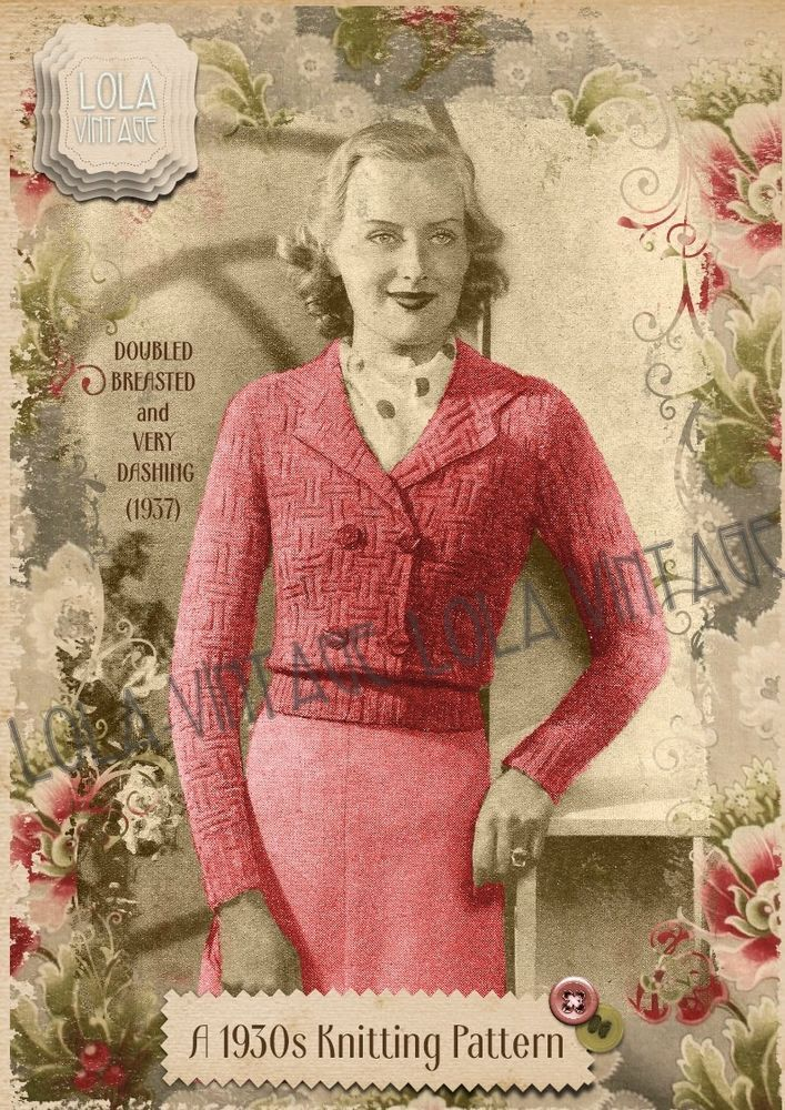 Vintage 1930s Knitting Pattern Lady\'s Double Breasted Cardigan ...