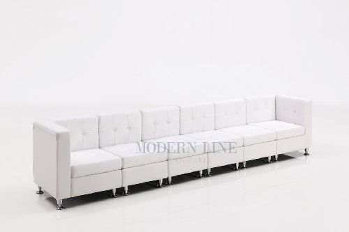 Modular White Leather Extra Long Sofa By Modern Line Furniture