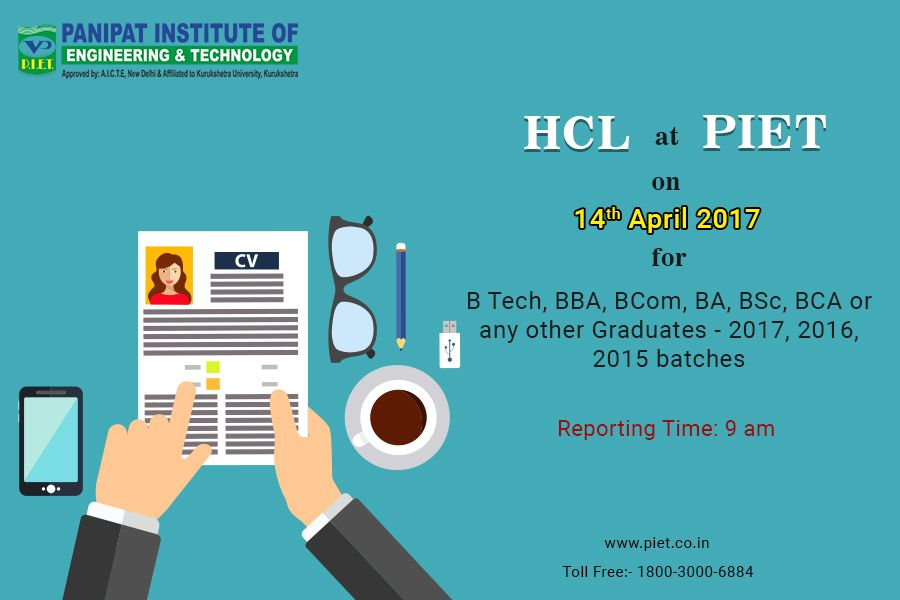 HCL is visiting #PIET for #Placements on 14th April, 2017 at 900 - resumes for construction workers