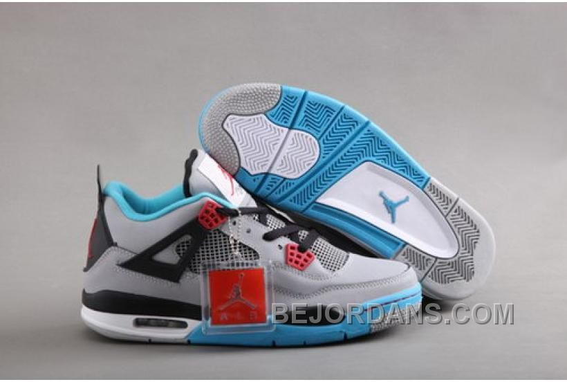 Top Nike Air Jordan IV Men Shoes in Gray with Light Blue, cheap Jordan If  you want to look Top Nike Air Jordan IV Men Shoes in Gray with Light Blue,  ...