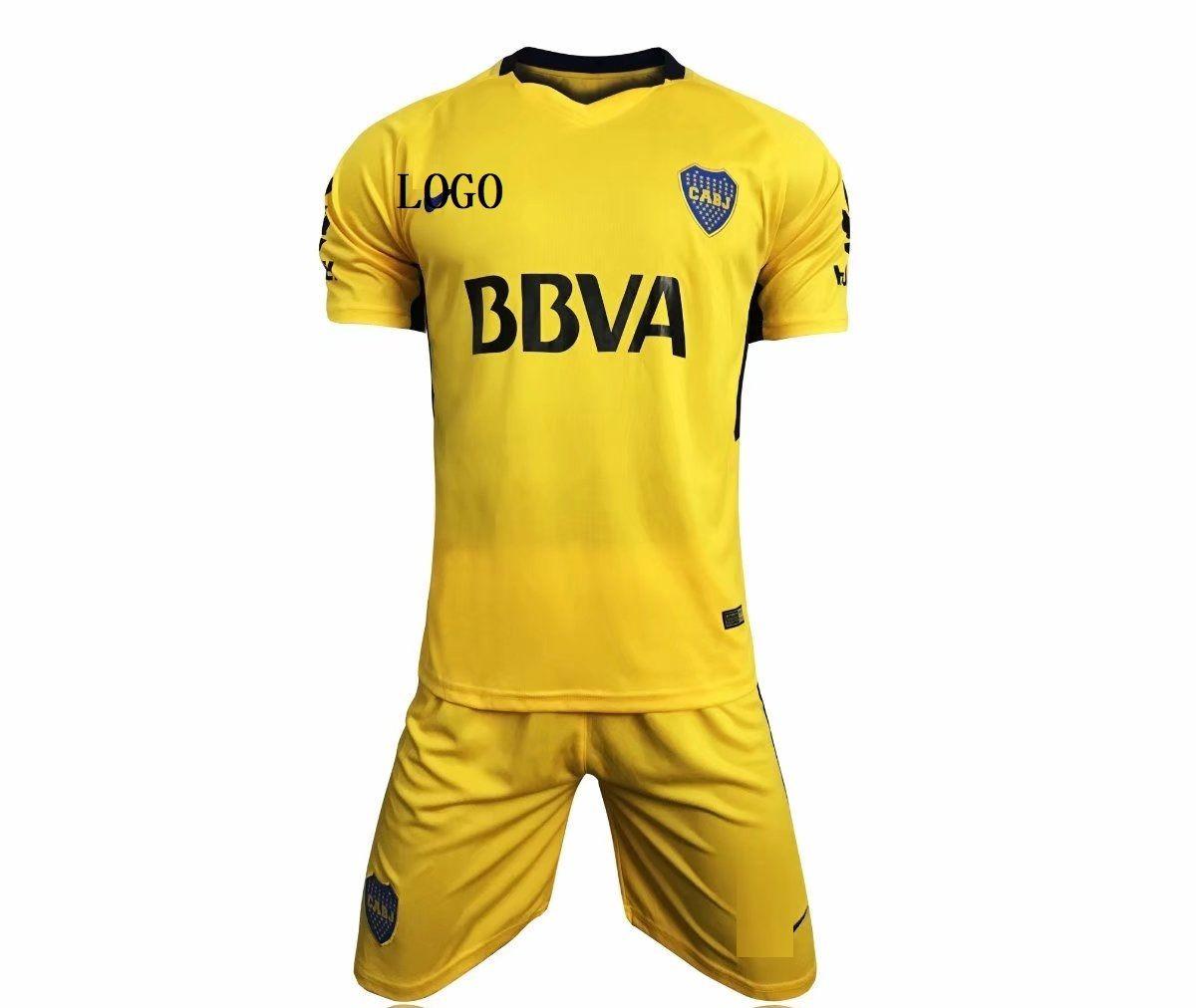 a0fc89dac Boca Juniors 2017-2018 away Yellow Soccer Jersey Uniforms Adult Football  Kits
