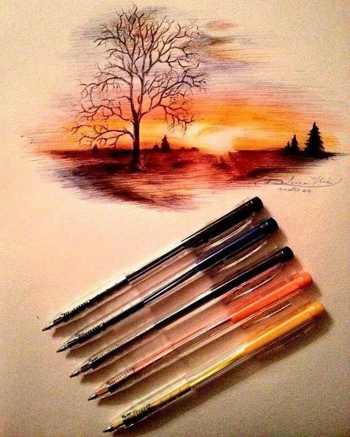 5 Farkli Pilot Kalemle Cizilmis Muhtesem Bir Calisma Storiaturkiye Hikaye Gununkaresi Ig Turkey Manzara Gunaydin Komi Art Art Inspiration Art Painting