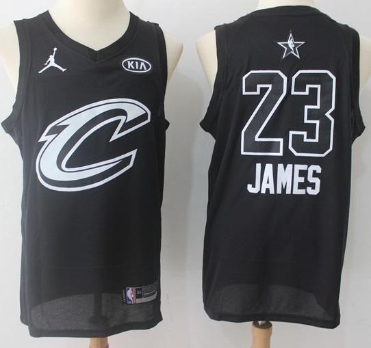 Men 2018 All Star 23 Lebron James Jersey Black Cleveland Cavaliers Fans  Swingman
