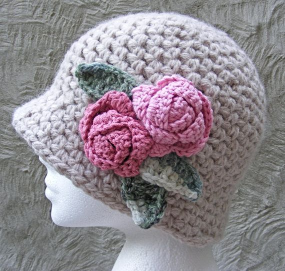 Ladies Winter Hat with Alpaca and Wool in Neutral Taupe with Soft Pink Roses £26.95