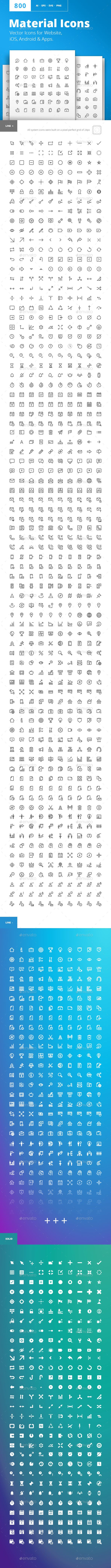 Material Design Icons Vector Icons For Website Ios Android