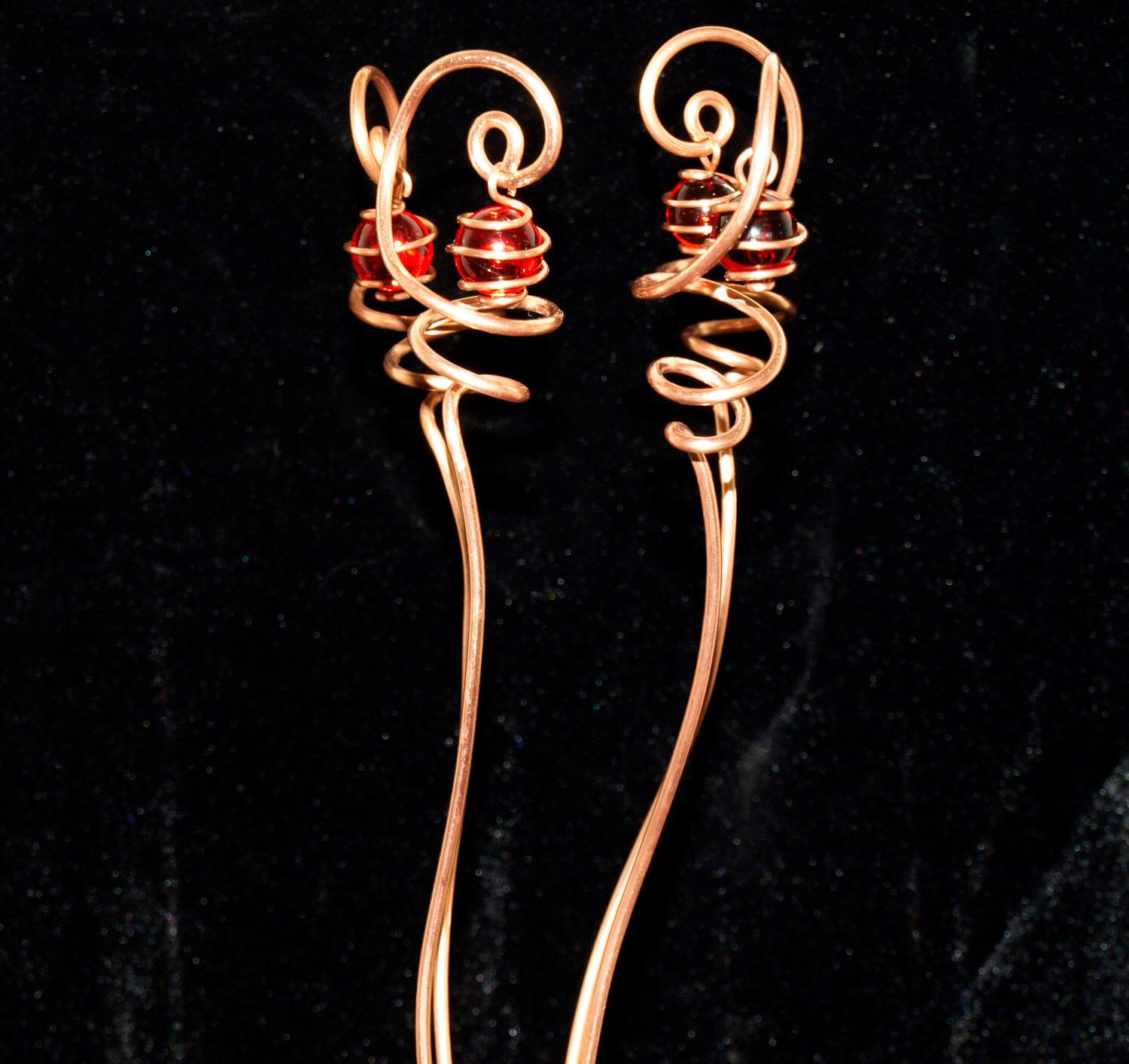 4 Solid Copper And Ruby Red Glass Suncatcher Plant Stakes 400 x 300