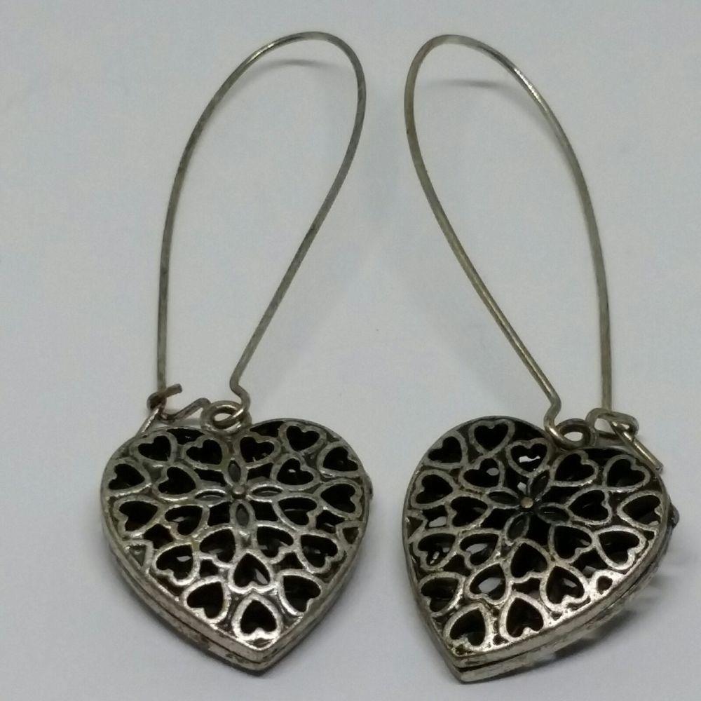 4b91fbfac3e09 Modern Estate Pewter Heart Lace Earrings Long Casual Fashion Club ...