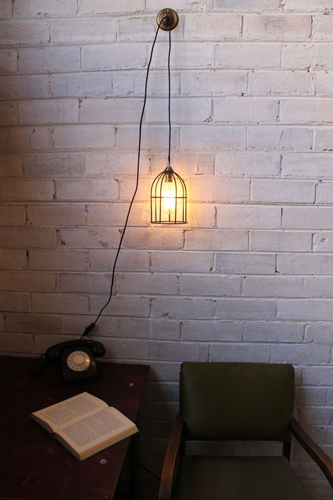 Pendant Light Cord - Inline Switch and Wall Plug with round cage ...