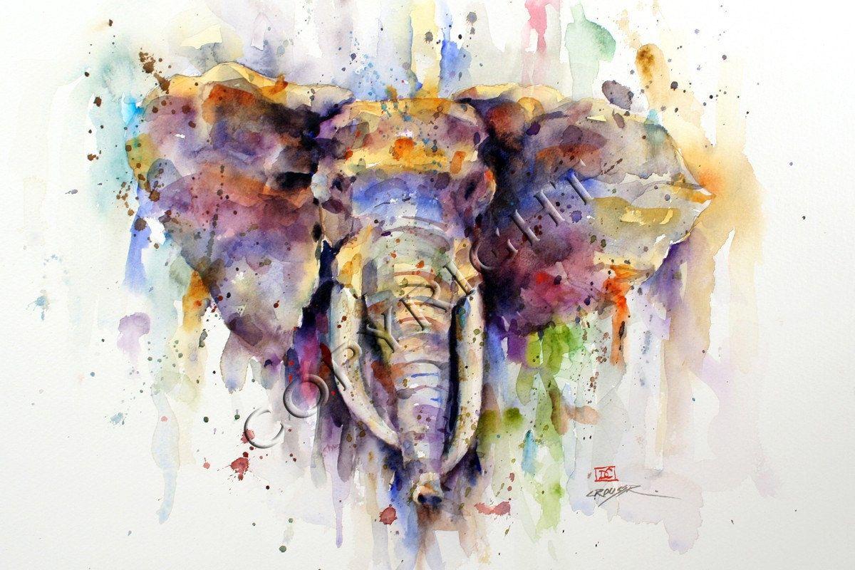 Elephant Watercolor Animal Print By Dean Crouser Elephant Art