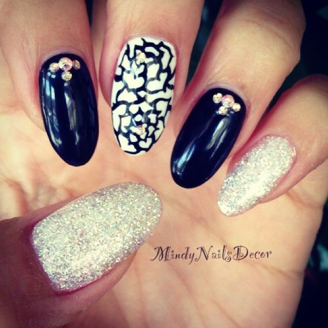 Blink black white almond shaped nails makeup pinterest blink black white almond shaped nails prinsesfo Choice Image
