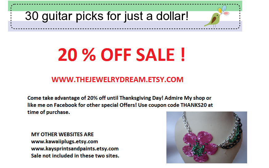 20% off at www.thejewelrydream.etsy.com    use couponcode THANKS20  at time of purchase    like us on facebook and admire our shop for updates and special sale offers