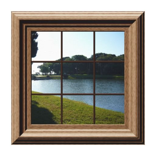 Fake Window View Lake Landscape Canvas Wall Art Zazzle Com Fake Window Window View Window Poster
