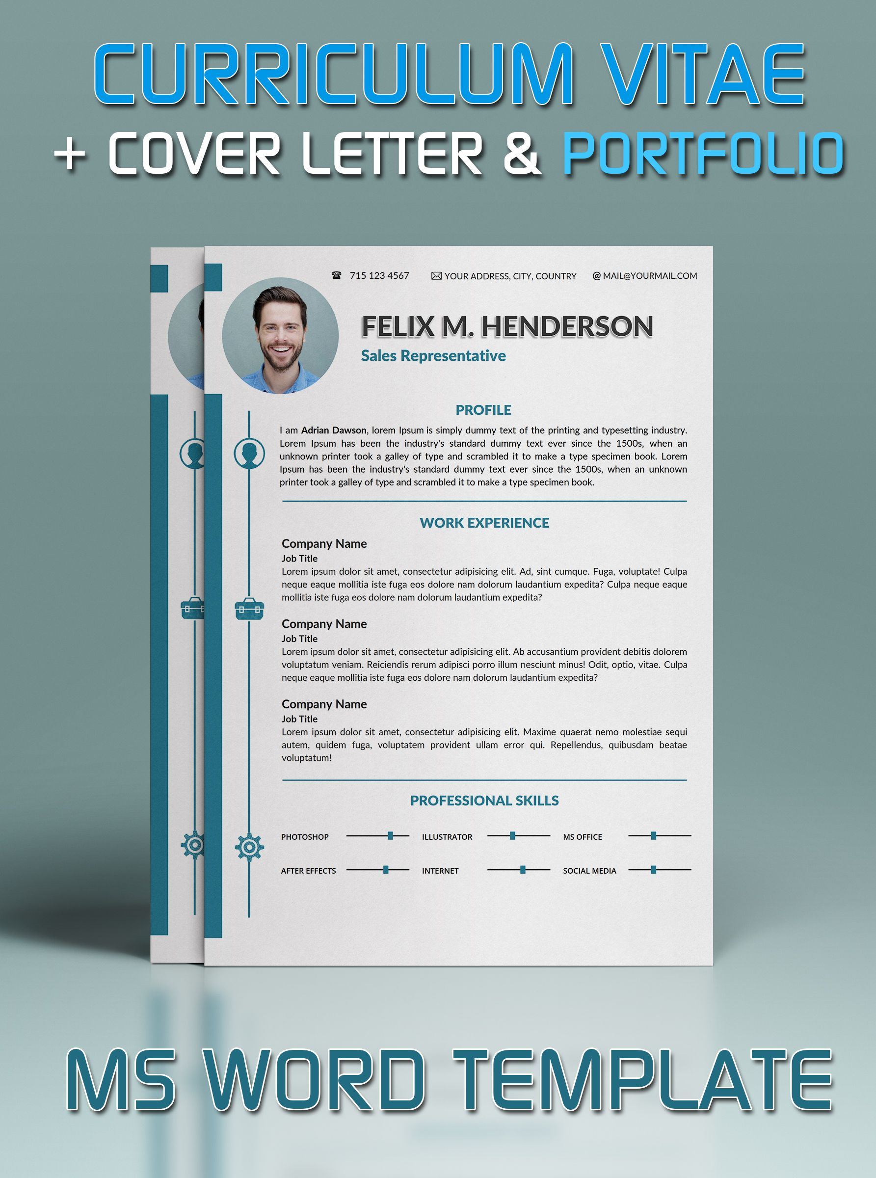 Resume Template In Microsoft Word, Cover Letter And Portfolio Template  Portfolio Word Template