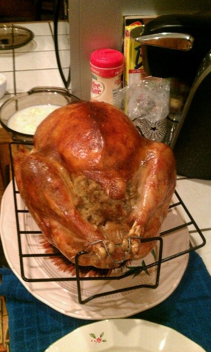 Our beautifully stuff Turkey on thanksgiving. It was delicious. 22pds.