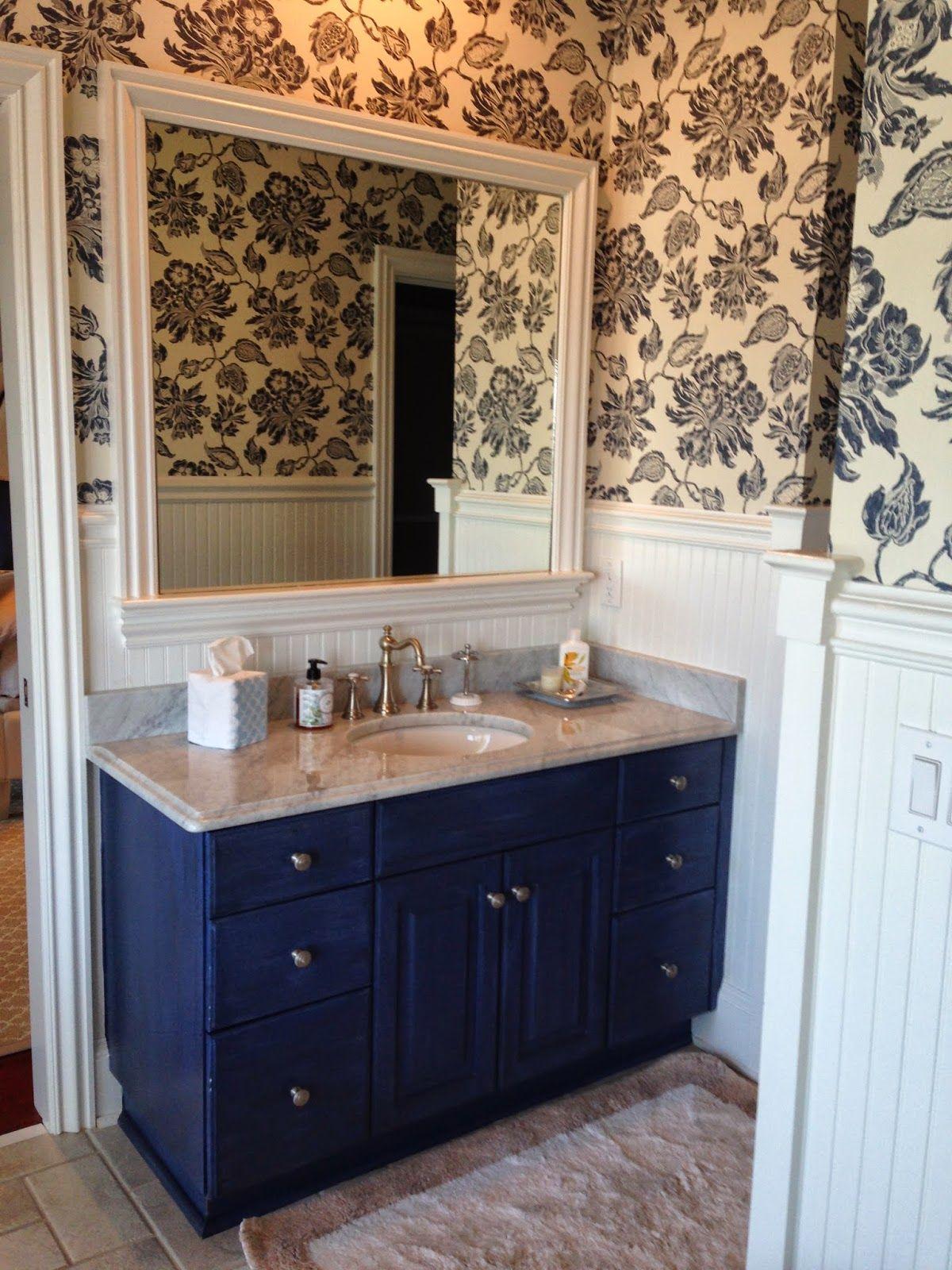 Savannah Dream Home navy and white bathroom, thibaut