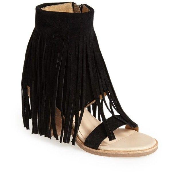 "Koolaburra 'Piaz II' Fringed Boot Cuff Sandal, 3 1/4"" heel found on Polyvore featuring polyvore, fashion, shoes, bohemian shoes, koolaburra shoes, rubber sole shoes, boho shoes and fringe shoes"