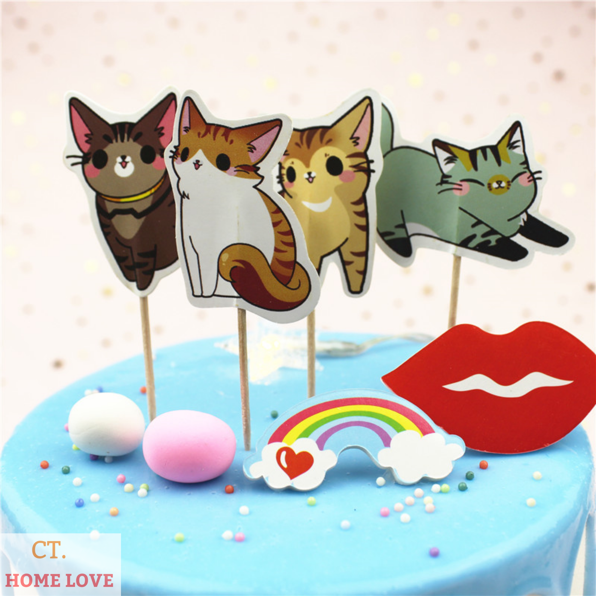 Kitty cat birthday party kitten birthday kitty 1st birthday pink kitty table centerpiece pink kitty cake topper Kitty cat cake topper