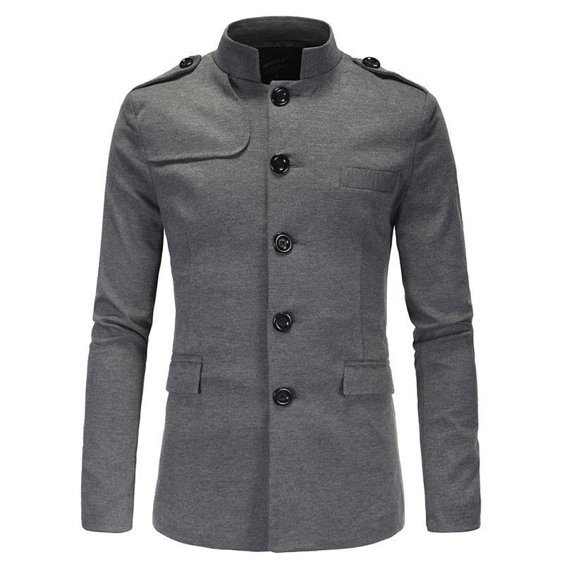 Nidicus Men Mid Length Slim Fit Jacket Winter Single Breasted Wool Blend Pea Coat