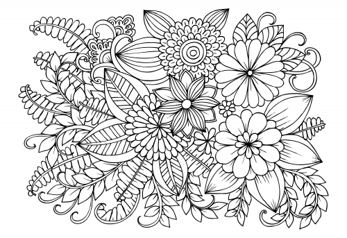 Flower Coloring Pages Detailed