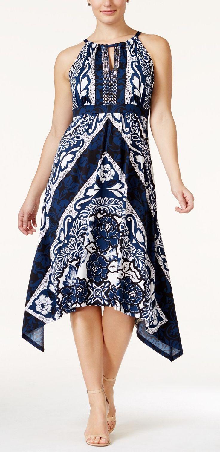 Plus Size Empire Waist Handkerchief Hem Halter Dress Plus Size