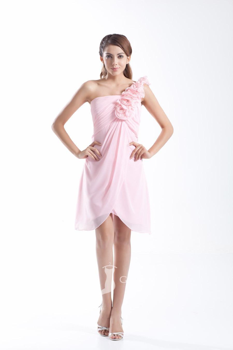 Pink Flower One Shoulder Sleeveless A Line Short Chiffon Bridesmaid ...