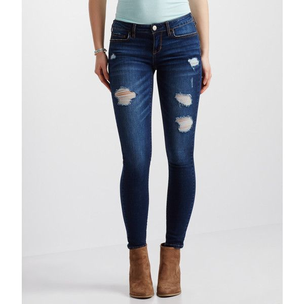 Aeropostale Dark Wash Destroyed Ankle Jegging ($20) ❤ liked on Polyvore  featuring pants, - Dark Wash Ripped Dreamy Jeggings Dream Wardrobe Pinterest