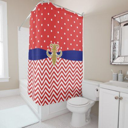 Red White And Blue Shower Curtain. Red White Blue Chevron Stripes Polka Dots Shower Curtain  shower curtains home decor custom idea