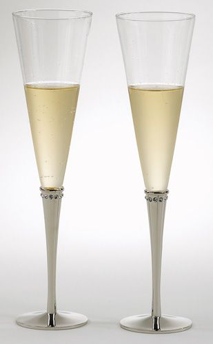 a4f4480a2a156 Pair Champagne Flutes w/Crystals This pair of glass and metal ...