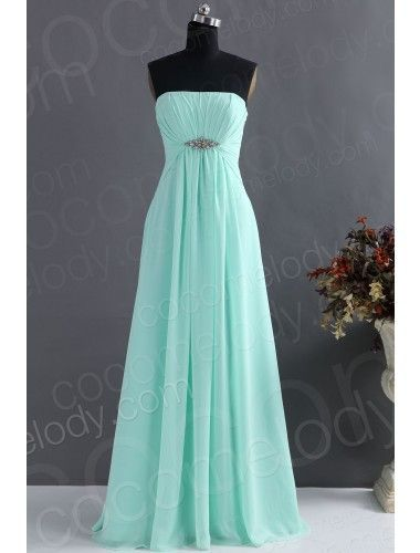 Cute A-Line Strapless Floor Length Chiffon Bridesmaid Dress with Ruched and Crystals
