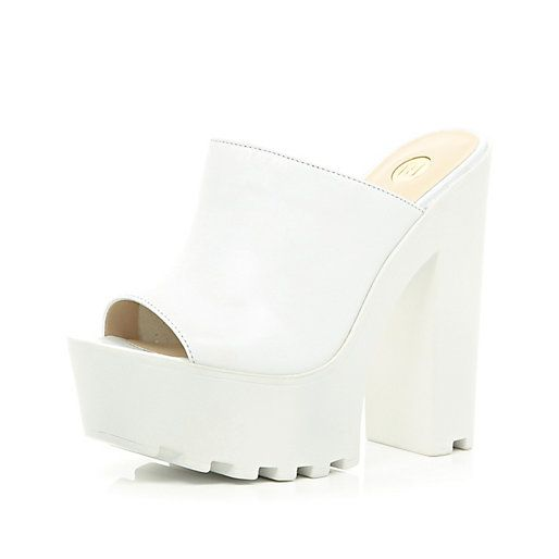 3951ad43c03 White cleated sole platform mules - platforms - shoes   boots - women