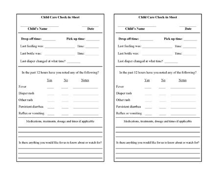 Daycare Check-In Form Free printable, Child and Parents - emergency contact forms